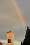 Israel, a rainbow over St. Joseph Church in Nazareth