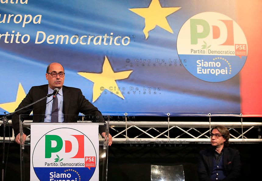 Europee 2019 Manifestazione elettorale del Pd con  il segretario Nicola Zingaretti <br /> il segretario regionale Leo Annunziata