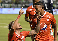 PALMIRA - COLOMBIA, 20-11-2019: Duvan Vergara del America celebra después de anotar el primer gol de su equipo durante partido entre Deportivo Cali y América de Cali por la fecha 4, cuadrangulares semifinales, de la Liga Águila II 2019 jugado en el estadio Deportivo Cali de la ciudad de Palmira. / Duvan Vergara player of America celebrates after scoring the first goal of his team during match between Deportivo Cali and America de Cali for the date 4, quadrangulars semifinals, as part of Aguila League II 2019 played at Deportivo Cali stadium in Palmira city. Photo: VizzorImage / Gabriel Aponte / Staff
