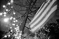 UNITED STATES / Brooklyn / Park Slope / December 2001..Christmas lights and an American flag in this upscale area of Brooklyn, New York. In the weeks and months after September 11th, American flags and symbols of patriotism appeared all over New York...© Davin Ellicson / Anzenberger