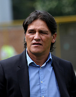 BOGOTA - COLOMBIA - 15 - 07 - 2017: Flabio Torres director técnico del Deportivo Pasto.La Equidad y Deportivo Pasto,  durante partido por la fecha 2 de la Liga Aguila II-2017, jugado en el estadio Metropolitano de Techo de la ciudad de Bogota. / Flabio Torres coach of Deportivo Pasto La Equidad and Deportivo Pasto,  during a match for the  date 2 of the Liga Aguila II-2017 at the Metropolitano de Techo Stadium in Bogota city, Photos: VizzorImage  /Felipe Caicedo / Staff.
