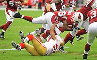 Sept. 13, 2009; Glendale, AZ, USA; Arizona Cardinals running back (36) LaRod Stephens-Howling gets upended on a first half kick off return against the San Francisco 49ers at University of Phoenix Stadium. San Francisco defeated Arizona 20-16. Mandatory Credit: Mark J. Rebilas-