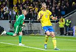Solna 2015-11-14 Fotboll EM-kval , Sverige - Danmark :  <br /> Sveriges Zlatan Ibrahimovic gestikulerar efter att ha f&aring;tt ett m&aring;l bortd&ouml;mt f&ouml;r offside under matchen mellan Sverige och Danmark <br /> (Photo: Kenta J&ouml;nsson) Keywords:  Sweden Sverige Solna Stockholm Friends Arena EM Kval EM-kval UEFA Euro European 2016 Qualifying Qualifier Playoff Denmark Danmark portr&auml;tt portrait depp besviken besvikelse sorg ledsen deppig nedst&auml;md uppgiven sad disappointment disappointed dejected