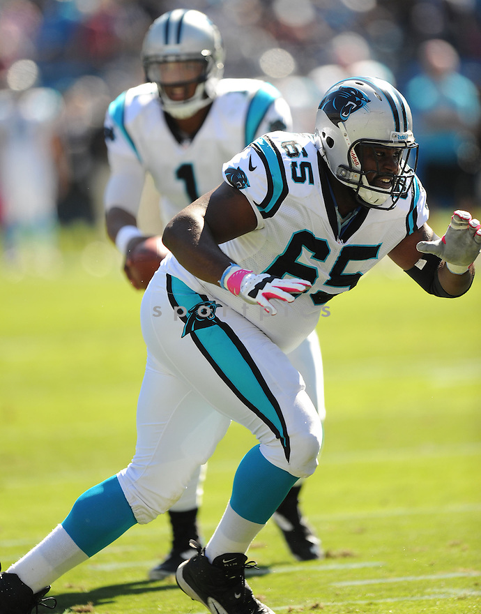 Carolina Panthers Garry Williams (65) in action during a game against the Cowboys on October 21, 2012 at Bank of America Stadium in Charlotte, NC. The Cowboys beat the Panthers 19-14.