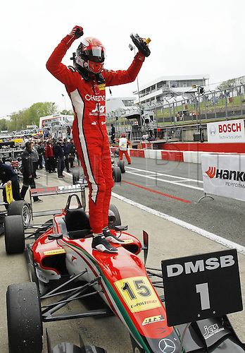 19.05.2012. Brands Hatch, Kent, England. Formula 3 Euro Series.  Round 2 Raffaele  ITA of the race as he jumps from his car