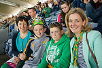 Donal, Mary and Padraig Crean from Killelton, Camp with Joanne Evans supporting Kerry at the<br /> All Ireland Football Final in Croke Park on Sunday.