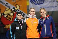 SCHAATSEN: HEERENVEEN: Thialf, Viking Race, 18-03-2011, Podium Girls16 1500m, Doreen Lamb (GER), Reina Anema (G-FR), Ineke Dedden (G-FR), ©foto Martin de Jong