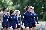 CARY, NC - JUNE 09: Marzia Josephson leads some players onto the practice field. The North Carolina Courage held a training session on June 9, 2017, at WakeMed Soccer Park Field 5 in Cary, NC.