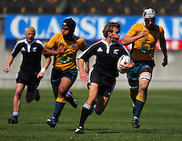 Ale Kotoni and Luke Jones chase the flying Rhys Llewellyn during the International rugby match between New Zealand Secondary Schools and Suncorp Australia Secondary Schools at Yarrows Stadium, New Plymouth, New Zealand on Friday, 10 October 2008. Photo: Dave Lintott / lintottphoto.co.nz