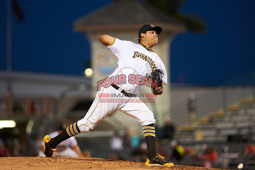 Bradenton Marauders relief pitcher Luis Heredia (37) delivers a pitch during a game against the Fort Myers Miracle on April 9, 2016 at McKechnie Field in Bradenton, Florida.  Fort Myers defeated Bradenton 5-1.  (Mike Janes/Four Seam Images)