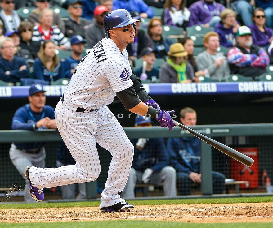 Colorado Rockies Troy Tolowitzki (2) during a game against the Tampa Bay Rays on May 5, 2013 at Coors Field in Denver, CO. The Rays beat the Rockies 8-3..