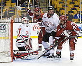 Clay Witt (Northeastern - 31), Luke Greiner (Harvard - 26), Josh Manson (Northeastern - 3), Colin Blackwell (Harvard - 63) - The Harvard University Crimson defeated the Northeastern University Huskies 3-2 in the 2012 Beanpot consolation game on Monday, February 13, 2012, at TD Garden in Boston, Massachusetts.