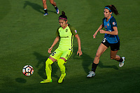 Kansas City, MO - Saturday June 17, 2017: Nahomi Kawasumi, Erika Tymrak during a regular season National Women's Soccer League (NWSL) match between FC Kansas City and the Seattle Reign FC at Children's Mercy Victory Field.