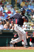 Minnesota Twins outfielder Denard Span #2 during a spring training game against the Pittsburgh Pirates at McKechnie Field on March 10, 2012 in Bradenton, Florida.  Minnesota defeated Pittsburgh 4-2.  (Mike Janes/Four Seam Images)