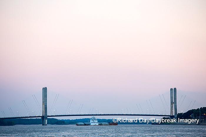 65095-02512 Barge on Mississippi River and Bill Emerson Memorial Bridge Cape Girardeau, MO