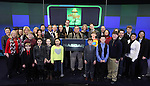 Dan Lauria, Johnny Rabe, John Bolton  and the cast with guests of 'A Christmas Story, The Musical'  ringing  the NASDAQ Stock Market Opening Bell at NASDAQ, Times Square in New York City on December 20, 2012