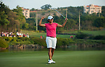 Yani Tsang of Taiwan celebrates on the 18th green her victory at  the LPGA Sunrise Taiwan Championship on at Sunrise Golf Course on October 23, 2011 in Taoyuan, Taiwan. Photo by Victor Fraile / The Power of Sport Images