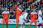 ROTTERDAM - Lars Balk (NED) scoort   tijdens   de Pro League hockeywedstrijd heren, Nederland-Spanje (4-0) . links Jeroen Hertzberger (NED) COPYRIGHT KOEN SUYK