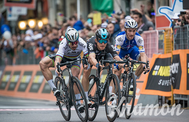 finish sprint at the Via Roma between Peter Sagan (SVK/Bora-Hansgrohe), Michal Kwiatkowski (POL/SKY) &amp; Julian Alaphilipe (FRA/QuickStep Floors) with Kwiatkowski winning by the smallest margin<br /> <br /> 108th Milano - Sanremo 2017