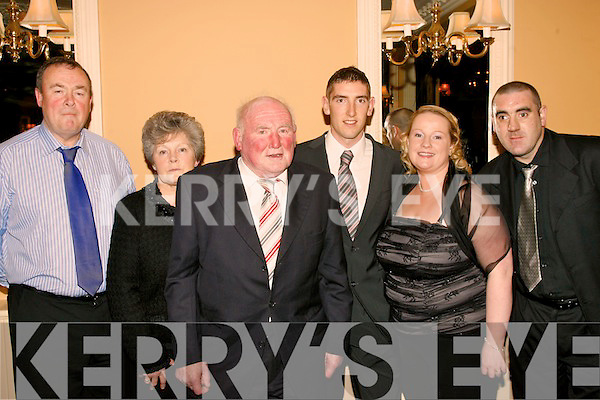 8923-8926.SOCIAL: All style at the Kerry GAA supporters club annual social in the Ballygarry House Hotel, Tralee last Saturday night were l-r: Paul & Mary Pellican, Jerry Brosnan (president of the Kerry GAA Supporters club), Killian Young (Kerry senior team player), Helena Slattery and Jimmy Darcy.