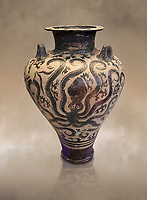 Three handled Palace Style Mycenaean amphora with octpuses and marinescape decorations motifs, Mycenaean cemetery, Argive Prosymna, tomb 2, 15 cnt BC, National Archaeological Museum Athens. Cat no 6725. <br /> <br /> This Mycenaean vase is an imitation of the Minoan Marine Style