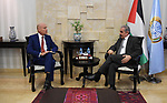 Palestinian Prime Minister Mohammad Ishtayeh meets with Netherlands representative to the Palestinian Territories Kees van Baar, in the West Bank city of Ramallah, August 06, 2019. Photo by Prime Minister Office