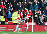 Stoke's Maxim Choupo-Moting celebrates scoring his sides second goal during the premier league match at the Britannia Stadium, Stoke on Trent. Picture date 9th September 2017. Picture credit should read: David Klein/Sportimage