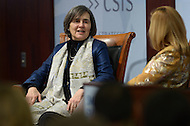 "District of Columbia,  - February 18, 2015: Rula Ghani, first lady of Afghanistan and wife of President Ashraf Ghani, participates in the ""Smart Women, Smart Power"" series  on the future of Afghanistan hosted by the Center for Strategic and International Studies in the District of Columbia, February 18, 2015. The discussion was moderated by CSIS senior associate Nina Easton.  (Photo by Don Baxter/Media Images International)"