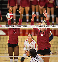 STANFORD, CA - September 9, 2018: Tami Alade, Kathryn Plummer at Maples Pavilion. The Stanford Cardinal defeated #1 ranked Minnesota 3-1 in the Big Ten / PAC-12 Challenge.