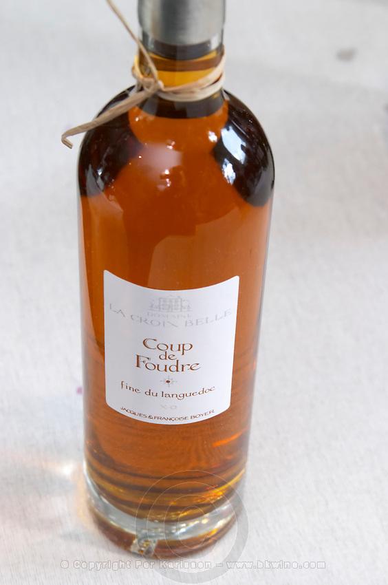 Coup de Foudre, fine du Languedoc, grape spirit. Domaine La Croix Belle. Cotes de Thongue. Languedoc. France. Europe. Bottle.