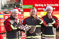 Celebrating with goodies from Greggs are firefighters from Stockhill Fire Station, Nottingham. Pictured  from left are Robin Watts, Tim Roe and Richard Lord.