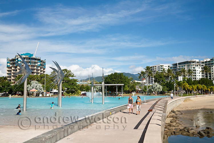 The Esplanade Lagoon on the Cairns waterfront.  Cairns, Queensland, Australia