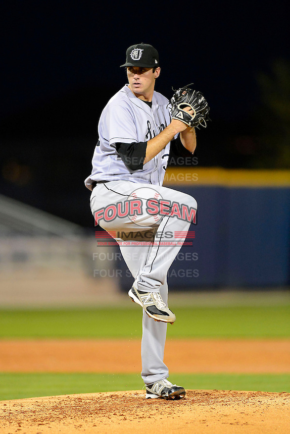 Jacksonville Suns pitcher Brian Flynn #36 during a game against the Pensacola Blue Wahoos on April 15, 2013 at Pensacola Bayfront Stadium in Pensacola, Florida.  Jacksonville defeated Pensacola 1-0 in 11 innings.  (Mike Janes/Four Seam Images)