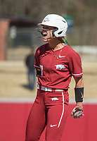 NWA Democrat-Gazette/BEN GOFF @NWABENGOFF<br /> Sydney Parr, Arkansas left fielder, reacts after hitting a single in the 7th inning vs South Carolina Sunday, March 17, 2019, at Bogle Park in Fayetteville.