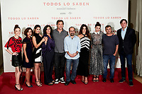 (L-R) Carla Campra, Inma Cuesta, Sara Salamo, Elvira Minguez, Javier Bardem, Asghar Farhadi, Penelope Cruz, Barbara Lennie and Eduard Fernandez attends to 'Todos lo Saben' film photocall at Urso Hotel in Madrid, Spain. September 12, 2018. (ALTERPHOTOS/A. Perez Meca) /NortePhoto NORTEPHOTOMEXICO