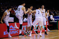 Korea players celebrate winning the FIBA World Cup qualifier between the New Zealand Tall Blacks and South Korea at TSB Bank Arena in Wellington, New Zealand on Thursday, 23 November 2017. Photo: Dave Lintott / lintottphoto.co.nz