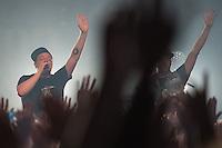 Die Hip-Hop-Gruppe Antilopen Gang aus Duesseldorf, Koeln und Berlin spielte am Samstag den 14. Maerz 2015 im ausverkauften Berliner Club SO36.<br /> Die Band besteht aus den Rappern Koljah Kolerikah, Panik Panzer (links) und Danger Dan (rechts) und steht beim Toten Hosen-Label JKP unter Vertrag.<br /> 14.3.2015, Berlin<br /> Copyright: Christian-Ditsch.de<br /> [Inhaltsveraendernde Manipulation des Fotos nur nach ausdruecklicher Genehmigung des Fotografen. Vereinbarungen ueber Abtretung von Persoenlichkeitsrechten/Model Release der abgebildeten Person/Personen liegen nicht vor. NO MODEL RELEASE! Nur fuer Redaktionelle Zwecke. Don't publish without copyright Christian-Ditsch.de, Veroeffentlichung nur mit Fotografennennung, sowie gegen Honorar, MwSt. und Beleg. Konto: I N G - D i B a, IBAN DE58500105175400192269, BIC INGDDEFFXXX, Kontakt: post@christian-ditsch.de<br /> Bei der Bearbeitung der Dateiinformationen darf die Urheberkennzeichnung in den EXIF- und  IPTC-Daten nicht entfernt werden, diese sind in digitalen Medien nach &sect;95c UrhG rechtlich geschuetzt. Der Urhebervermerk wird gemaess &sect;13 UrhG verlangt.]