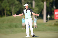Gainesville, VA - August 2, 2015: Tournament Champion Troy Merritt celebrates after hitting the winning putt on 18 of the Quicken Loans National at the Robert Trent Jones Golf Club in Gainesville, VA. August 2, 2015.  (Photo by Philip Peters/Media Images International)