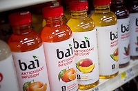Bottles of Bai brand antioxidant infusion juice drinks are seen on a supermarket shelf on Tuesday, November 17, 2015. The drink uses coffeefruit, the husk that surrounds a coffee bean, which is usually discarded. (© Richard B. Levine)
