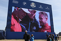 Thomas Bjorn (Team Europe Captain) comforts tearful winning Paul Casey (Team Europe) and Tyrrell Hatton (Team Europe) together during Saturday's Fourballs, at the Ryder Cup, Le Golf National, Île-de-France, France. 29/09/2018.<br /> Picture David Lloyd / Golffile.ie<br /> <br /> All photo usage must carry mandatory copyright credit (© Golffile | David Lloyd)