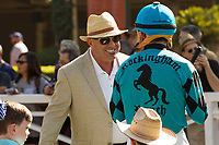 ARCADIA, CA  FEBRUARY 3 : Trainer Peter Miller jokes with Kent Desormeaux,  in the walking ring before the Palos Verdes Stakes (Grade ll) on February 3, 2018, at Santa Anita Park in Arcadia, CA.(Photo by Casey Phillips/ Eclipse Sportswire/ Getty Images)