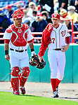 4 March 2012: Washington Nationals pitcher Stephen Strasburg makes the walk from the bullpen to the dugout with catcher Wilson Ramos prior to a Spring Training game against the Houston Astros at Space Coast Stadium in Viera, Florida. Strasburg allowed two runs on three hits, striking out three in 2 2/3 innings as the Astros defeated the Nationals 10-2 in Grapefruit League action. Mandatory Credit: Ed Wolfstein Photo