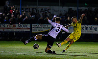 Fleetwood Town's Paddy Madden scores the opening goal <br /> <br /> Photographer Alex Dodd/CameraSport<br /> <br /> The Emirates FA Cup Second Round - Guiseley v Fleetwood Town - Monday 3rd December 2018 - Nethermoor Park - Guiseley<br />  <br /> World Copyright © 2018 CameraSport. All rights reserved. 43 Linden Ave. Countesthorpe. Leicester. England. LE8 5PG - Tel: +44 (0) 116 277 4147 - admin@camerasport.com - www.camerasport.com