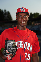 Auburn Doubledays pitcher Taylor Hearn (15) poses for a photo after a game against the Batavia Muckdogs on September 7, 2015 at Falcon Park in Auburn, New York.  Auburn defeated Batavia 11-10 in ten innings.  (Mike Janes/Four Seam Images)