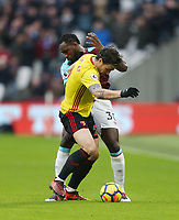 West Ham United's Michail Antonio and Watford's Daryl Janmaat<br /> <br /> Photographer Rob Newell/CameraSport<br /> <br /> The Premier League - West Ham United v Watford - Saturday 10th February 2018 - London Stadium - London<br /> <br /> World Copyright &copy; 2018 CameraSport. All rights reserved. 43 Linden Ave. Countesthorpe. Leicester. England. LE8 5PG - Tel: +44 (0) 116 277 4147 - admin@camerasport.com - www.camerasport.com