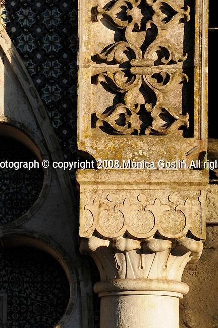 Detail of a Moorish fountain in Sintra, Portugal.