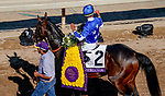 November 1, 2019: Structor, ridden by Jose Ortiz, wins the Breeders' Cup Juvenile Turf on Breeders' Cup Championship Friday at Santa Anita Park in Arcadia, California on November 1, 2019. John Voorhees/Eclipse Sportswire/Breeders' Cup/CSM