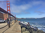 A car at Fort Point jumped over the small railing and landed almost into the San Francisco Bay.
