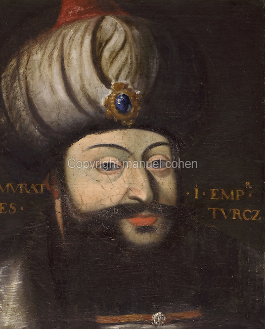 Portrait of Murad I, Emperor of the Turks or Sultan of the Ottoman Empire, 1326-89, in the Galerie des Illustres or Gallery of Portraits, early 17th century, in the Chateau de Beauregard, a Renaissance chateau in the Loire Valley, built c. 1545 under Jean du Thiers and further developed after 1617 by Paul Ardier, Comptroller of Wars and Treasurer, in Cellettes, Loir-et-Cher, Centre, France. The Gallery of Portraits is a 26m long room with lapis lazuli ceiling, Delftware tiled floor and decorated with 327 portraits of important European figures living 1328-1643, in the times of Henri III, Henri IV and Louis XIII. The chateau is listed as a historic monument. Picture by Manuel Cohen