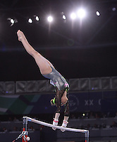 Wales' Raer Theaker performs her routine in the gymnastics artistic women's uneven bars final<br /> <br /> Photographer Chris Vaughan/CameraSport<br /> <br /> 20th Commonwealth Games - Day 8 - Thursday 31st July 2014 - Gymnastics - The SSE Hydro - Glasgow - UK<br /> <br /> © CameraSport - 43 Linden Ave. Countesthorpe. Leicester. England. LE8 5PG - Tel: +44 (0) 116 277 4147 - admin@camerasport.com - www.camerasport.com